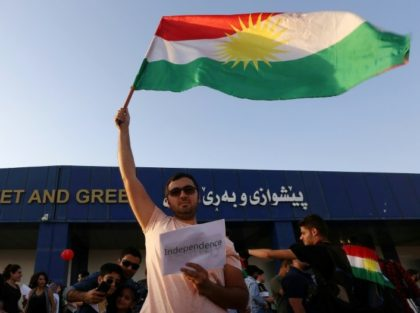 Iraqi Kurds take part in a demonstration at Arbil airport, in the capital of Iraq's autonomous northern Kurdish region, after the central government ordered the indefinite halt to all foreign flights to and from Iraqi Kurdistan, on September 29, 2017