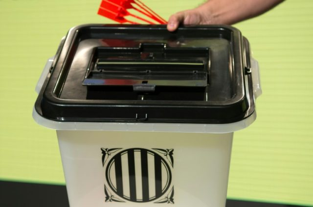 A ballot box that will be used during the Catalan independence referendum