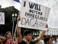 Diego Rios, 23, of Rockville, Md., rallies in support of the Deferred Action for Childhood Arrivals program, known as DACA, outside of the White House, in Washington, Tuesday, Sept. 5, 2017. President Donald Trump will end a program that has protected hundreds of thousands of young immigrants brought into the country illegally as children and call for Congress to find a legislative solution. Attorney General Jeff Sessions announced the changes Tuesday. (AP Photo/Jacquelyn Martin)