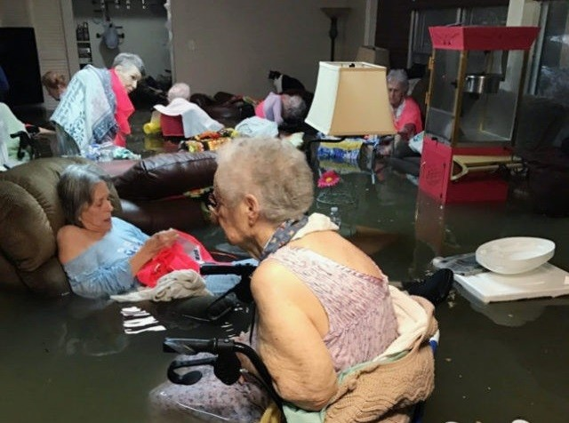Nursing home in Dickenson, Texas, during Hurricane Harvey flooding. (AP File Photo: Trudy Lampson)
