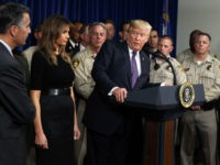 President Donald Trump speaks after meeting with first responders and private citizens that helped during the mass shooting, at the Las Vegas Metropolitan Police Department, Wednesday, Oct. 4, 2017, in Las Vegas. (AP Photo/Evan Vucci)