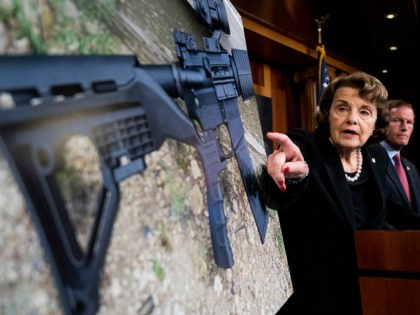 UNITED STATES - OCTOBER 4: Sen. Dianne Feinstein, D-Calif., and Sen. Richard Blumenthal, D-Conn., hold a news conference in the Capitol on Wednesday, Oct. 4, 2017, to introduce legislation to ban the sale and possession of bump-stock equipment used to turn a semiautomatic weapon into an automatic one. (Photo By …