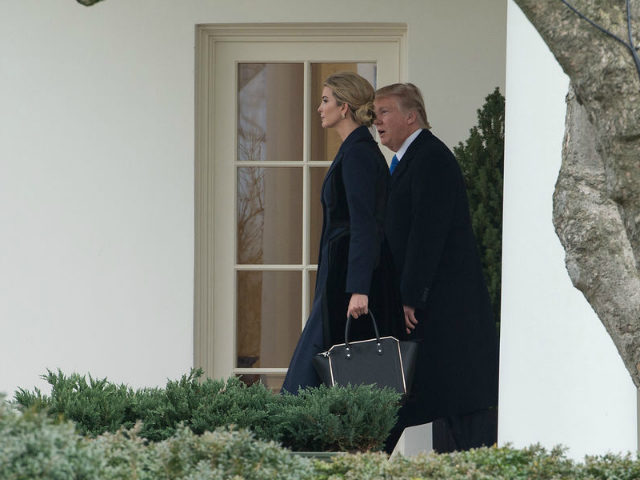 US President Donald Trump and his daughter Ivanka walk out of the Oval Office at the White House in Washington, DC, on February 1, 2017. / AFP / NICHOLAS KAMM (Photo credit should read NICHOLAS KAMM/AFP/Getty Images)