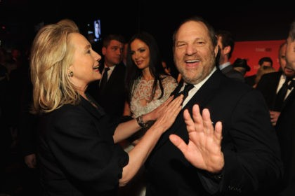 NEW YORK, NY - APRIL 24: Secretary of State Hillary Rodham Clinton and producer Harvey Weinstein attend the TIME 100 Gala, TIME'S 100 Most Influential People In The World, cocktail party at Jazz at Lincoln Center on April 24, 2012 in New York City. (Photo by Larry Busacca/Getty Images for …