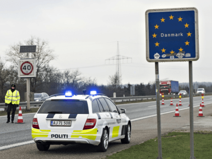 Border police are seen on January 4, 2016 at the Danish-German boarder town Krusaa. Denmark announced the immediate introduction of random controls at the German border, Danish Prime Minister Lars Lokke Rasmussen said Monday, on the same day neighbouring Sweden introduced controls on its frontier with Denmark to stem the …
