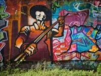A graffiti image of a steel worker is seen at the Carrie Furnace blast furnaces on September 7, 2016, in Rankin, Pennsylvania. The structures were a part of the Homestead Steel Works operation of United States Steel from 1907 to 1978, and designated a National Historic Landmark in 2006. The …