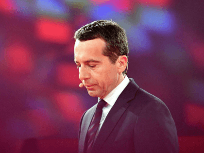 Austrian chancellor Christian Kern delivers a speech on the future of Austria in Wels, Upper Austria, on January 11, 2017. / AFP / APA / BARBARA GINDL / Austria OUT (Photo credit should read BARBARA GINDL/AFP/Getty Images)