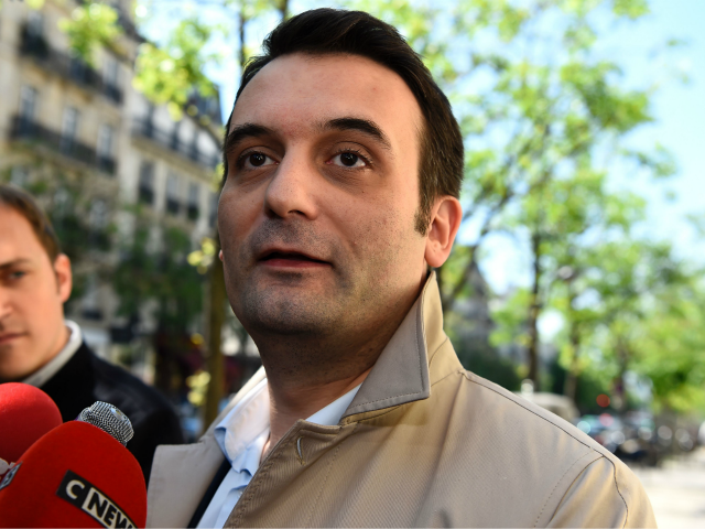 French far-right Front National (FN) party Vice-President Florian Philippot answers journalists' questions outside the 'L'Escale', the party's headquarters in Paris, on May 9, 2017. / AFP PHOTO / bertrand GUAY (Photo credit should read BERTRAND GUAY/AFP/Getty Images)