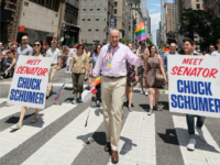 New York State Senator Chuck Schumer attends the New York City Gay Pride 2017 march on June 25, 2017 in New York City.