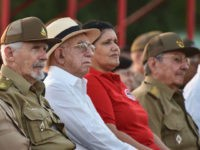 Cuban president Raul Castro (R), Revolution Commander Guillermo Garcia Frias (2nd-L), Cuban Vice president of the State of Council Ramiro Valdez (3rd-L), Cuban vice president Jose Ramon Machado Ventura (3rd-L) and First Secretary of the Comunist Party in Pinar del Rio province Gladys Martinez (2nd-R) attend the celebration of the …