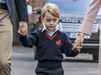 LONDON, ENGLAND - SEPTEMBER 7: (EDITORS NOTE: Retransmission of #843616140 with alternate crop.) Prince George of Cambridge arrives for his first day of school at Thomas's Battersea on September 7, 2017 in London, England. (Photo by Richard Pohle - WPA Pool/Getty Images)