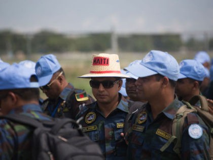UN Bangladeshi peacekeepers of the United Nations Stabilization Mission in Haiti (MINUSTAH) prepare to leave Haiti at Toussaint Louverture International Airport in Port-au-Prince on October 8, 2017. The long-running United Nations mission in Haiti officially ended on October 5, 2017, after 13 years, but its aim of restoring stability in …