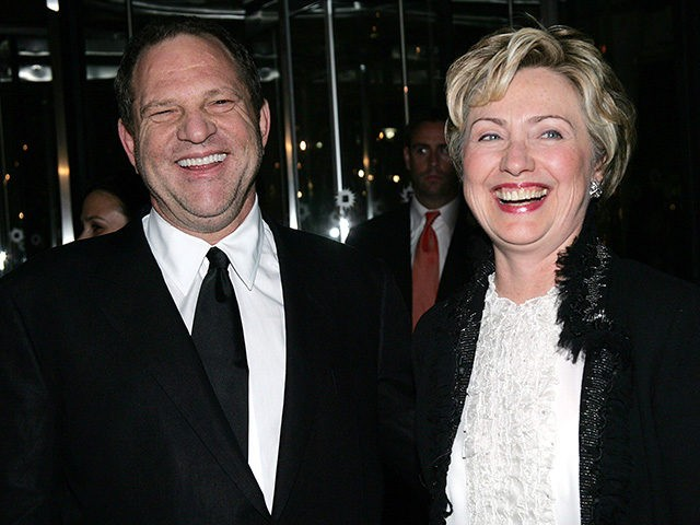 NEW YORK - OCTOBER 25: Senator Hillary Clinton and Miramax boss Harvey Weinstein arrive at the Brooklyn Museum for the premiere of Miramax Films 'Finding Neverland' October 25, 2004 in New York City. (Photo by Evan Agostini/Getty Images)