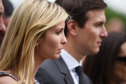 Ivanka Trump and Jared Kushner listen to US President Donald Trump speak in the Rose Garden of the White House following the House of Representative vote on the health care bill on May 4, 2017 in Washington, DC. Following weeks of in-party feuding and mounting pressure from the White House, …