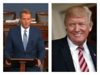 L: Sen. Jeff Flake announces on Oct. 24, 2017, that he will not seek re-election. R: Trump smiles.