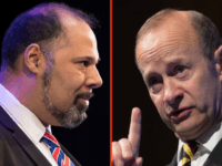 (LEFT) Education and apprenticeship spokesman David Kurten speaks at the UKIP South West regional conference at the Weymouth Pavilion on March 4, 2017 in Weymouth, England. It is the first public appearance of the headline speaker party leader Paul Nuttall since losing a by-election in Stoke-on-Trent last week. (RIGHT) Newly …