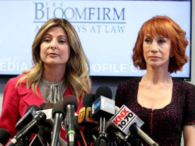 Kathy Griffin (R) and her attorney Lisa Bloom speak during a press conference at The Bloom Firm on June 2, 2017 in Woodland Hills, California. Griffin is holding the press conference after a controversial photoshoot where she was holding a bloodied mask depicting President Donald Trump and to address alleged …