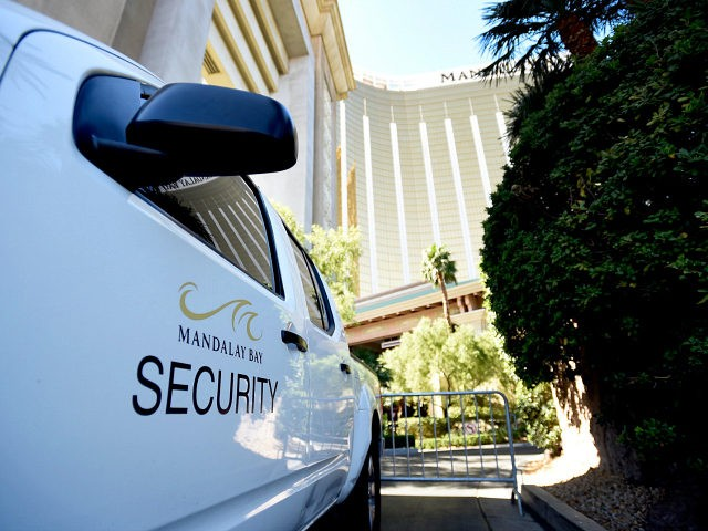 LAS VEGAS, NV - OCTOBER 04: A security vehicle blocks an entrance at the Mandalay Bay Resort & Caisno on October 4, 2017 in Las Vegas, Nevada. Added security to some Las Vegas casinos was implemented in response to Sunday night's shooting on October 3, 2017 in Las Vegas, Nevada. …