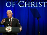 Vice President Mike Pence addresses the In Defense of Christians' fourth-annual national advocacy summit in Washington, Wednesday, Oct. 25, 2017. (AP Photo/Cliff Owen)