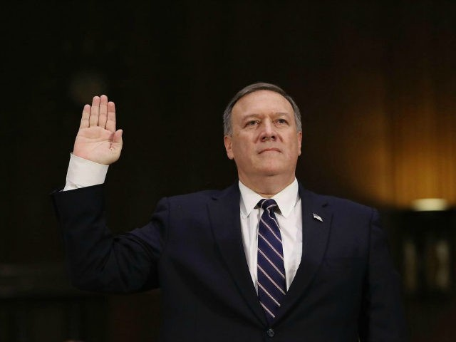 U.S. President-elect Donald Trump's nominee for the director of the CIA, Rep. Mike Pompeo (R-KS) is sworn in at his confirmation hearing before the Senate (Select) Intelligence Committee in the Hart Senate Office Building on January 12, 2017 in Washington, DC. Mr. Pompeo is a former Army officer who graduated …