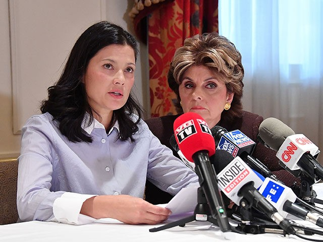 NEW YORK, NY - OCTOBER 25: New alleged victim of Harvey Weinstein, Natassia Malthe (L) and Attorney Gloria Allred speak during a press conference held at Lotte New York Palace at Lotte New York Palace on October 25, 2017 in New York City. (Photo by Mike Coppola/Getty Images)