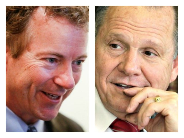 "Rand Paul and Judge Roy Moore collage: Sen. Rand Paul endorsed Judge Roy Moore for U.S. Senate on Tuesday, describing him as someone who will ""stand on principle"" and ""defend the Constitution."""