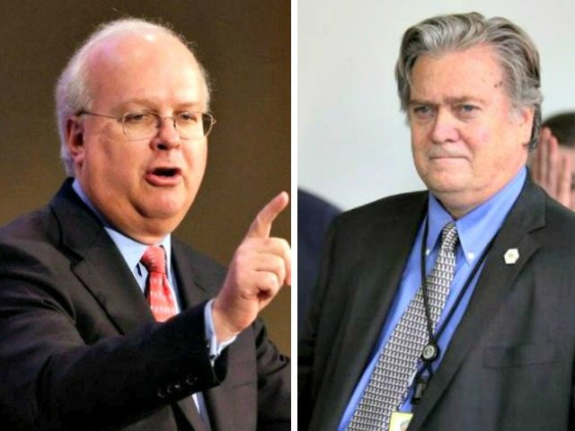 Rove:Bannon AP:CHIP SOMODEVILLAGETTY IMAGES