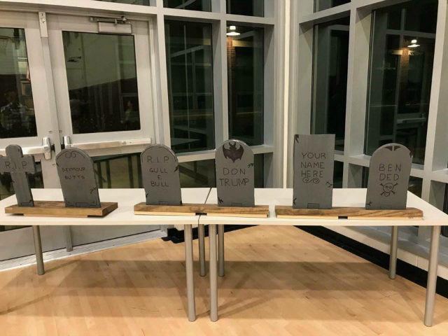 Parents at a Massachusetts elementary school are outraged after a school Halloween party displayed a President Trump tombstone.
