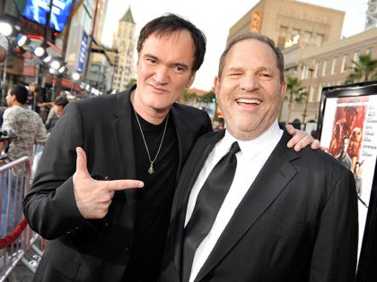 HOLLYWOOD - AUGUST 10: Director Quentin Tarantino (L) and producer Harvey Weinstein arrive at the premiere of Weinstein Co.'s 'Inglourious Basterds' held at Grauman's Chinese Theatre on August 10, 2009 in Hollywood, California. (Photo by Kevin Winter/Getty Images