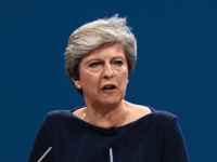 MANCHESTER, ENGLAND - OCTOBER 04: British Prime Minister Theresa May delivers her keynote speech to delegates and party members on the last day of the Conservative Party Conference at Manchester Central on October 4, 2017 in Manchester, England. The prime minister rallied members and called for the party to 'shape …