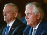 US Secretary of State Rex Tillerson and US Secretary of Defence Jim Mattis participate in a meeting at Government House in Sydney for the 2017 Australia-United States Ministerial Consultations (AUSMIN) on June 5, 2017 in Sydney, Australia. The Australia-US Ministerial Consultations (AUSMIN) are the principal forum for bilateral consultations with …