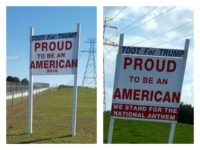 Elaine Simmons, a Florida woman who pitched a sign supporting President Trump on her property for more than a year, said the county ordered her to remove her sign after she added a phrase stating that she supports the national anthem.
