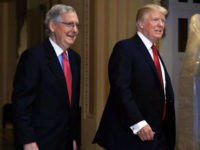 President Donald Trump and Senate Majority Leader Mitch McConnell of Ky., walk at the U.S. Capitol in Washington, Tuesday, Oct. 24, 2017. Trump was attending a luncheon with Republican senators. (AP Photo/Manuel Balce Ceneta)