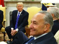 In this Sept. 6, 2017 photo, President Donald Trump and Senate Minority Leader Chuck Schumer, D-N.Y., during a meeting with other Congressional leaders in the Oval Office of the White House in Washington. Trump's deal with Democrats has offered a glimpse of the president's interest in governing as an independent, …