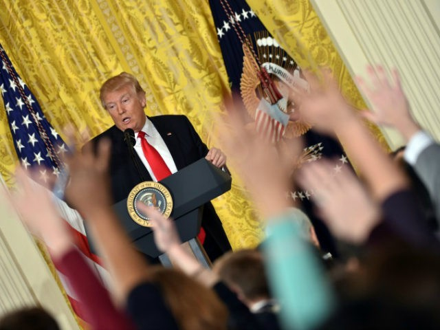 President Donald Trump speaks during a press conference at the White House in Washington, DC