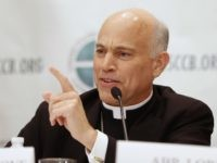 San Francisco Archbishop Salvatore J. Cordileone answers a question during a news conference at the U.S. bishops' annual fall meeting Nov. 11 in Baltimore. (CNS photo/Nancy Phelan Wiechec) (Nov. 11, 2013) See BISHOPS-ROUNDUP Nov. 11, 2013.