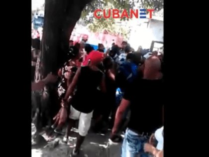 Protest against police brutality in Havana, Cuba, neighborhood after police beat a young man.