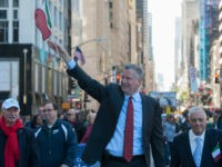 Mayor Bill de Blasio participates in the annual Columbus Day Parade on October 10, 2016 in New York City. This is the 72nd Columbus Day Parade held in New York City. (Photo by Stephanie Keith/Getty Images)