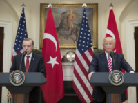 U.S. President Donald Trump and President of Turkey Recep Tayyip Erdogan deliver joint statements in Washington, DC on May 16. Relations between the two countries have soured in recent days following the arrest of a U.S. consulate worker by Turkish officials. On Sunday, the U.S. suspended non-immigrant visa applications from the country. File Photo by Michael Reynolds