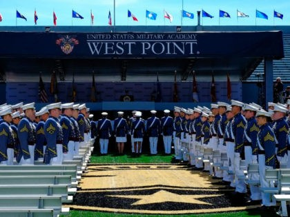WEST POINT, NY - MAY 27: West Point graduates arrive for the U.S. Military Academy Class of 2017 graduation ceremony at Michie Stadium on May 27, 2017 in West Point, New York. U.S. Defense Secretary Jim Mattis addressed the 950 graduating cadets during the commencement ceremony. (Photo by Eduardo Munoz …