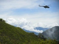 A helicopter of the Army overflies a coca field in Pueblo Nuevo, in the municipality of Briceno, Antioquia Department, Colombia, on May 15, 2017. The Colombian government and the Revolutionary Armed Forces of Colombia (FARC) leftist guerrillas inaugurated a plan to eradicate coca plantations and replace them with legal crops. …
