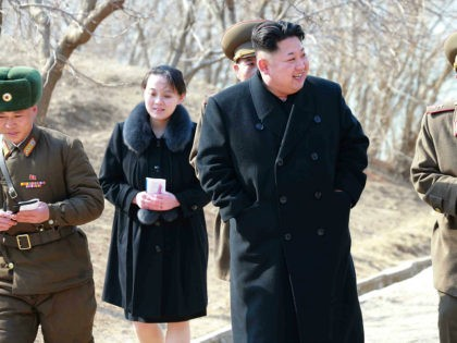This undated picture released from North Korea's official Korean Central News Agency (KCNA) on March 12, 2015 shows North Korean leader Kim Jong-Un (C) inspecting the Sin Islet defence company in Kangwon province, while Kim Yo-Jong (2nd L), vice department director of the Central Committee of the Worker's Party of …