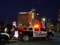 LAS VEGAS, NV - OCTOBER 08: Las Vegas Metropolitan Police near the scene of the recent Las Vegas mass shooting on October 8, 2017, in Vas Vegas, NV. The mass shooting killed 59 people and injured more than 500 at the Route 91 Harvest Festival near Mandalay Bay on October …