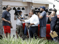 "Eric Paddock, left, brother of Las Vegas gunman Stephen Paddock, speaks to members of the media outside his home, Monday, Oct. 2, 2017, in Orlando, Fla. Paddock told the Orlando Sentinel: ""We are completely dumbfounded. We can't understand what happened."" (AP Photo/John Raoux)"