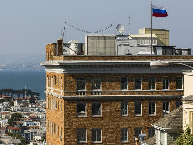 SAN FRANCISCO, USA - AUGUST 31 : A Russian flag waves on top of Consulate General Of The Russian Federation building as the consulate readies itself for closure in San Francisco, United States on August 31, 2017. The Trump administration ordered Russia to close it's consulate in San Francisco, and …