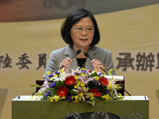 Taiwan's President Tsai Ing-wen speaks during a conference between Taiwan and China relations organized by Taiwan's Mainland Affairs Council (MAC) in Taipei on October 26, 2017. Taiwan president Tsai Ing-wen said on October 26 that the end of China's landmark party congress marks an 'opportunity for change,' as she called for dialogue with Chinese leader Xi Jinping. / AFP PHOTO / Sam YEH (Photo credit should read SAM YEH/AFP/Getty Images)