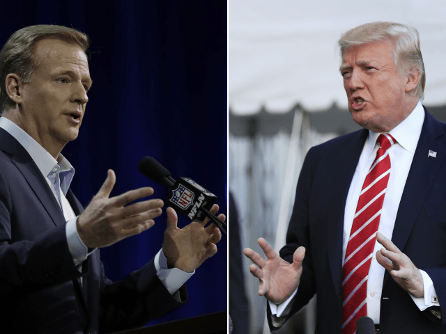At left, in a Feb. 1, 2017, file photo, NFL Commissioner Roger Goodell answers questions during a news conference for the Super Bowl 51 football game, in Houston. At right, in an Oct. 7, 2017, file photo, President Donald Trump speaks to reporters at the White House in Washington. NFL …