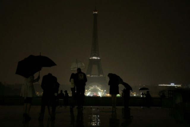 The Eiffel Tower went dark on Monday night in tribute to the victims of the attacks in Las Vegas and Marseille.