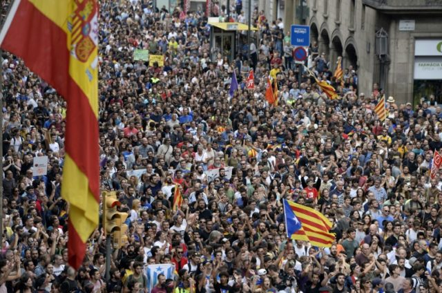 An estimated 300,000 people took to the streets in Catalonia