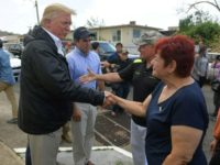 US President Donald Trump and First Lady Melania Trump met with residents affected by Hurricane Maria in Guaynabo, west of San Juan